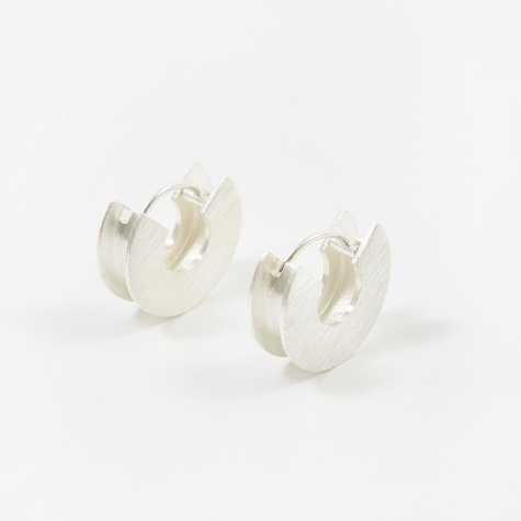 H-Beam Earrings - Brushed Sterling Silver
