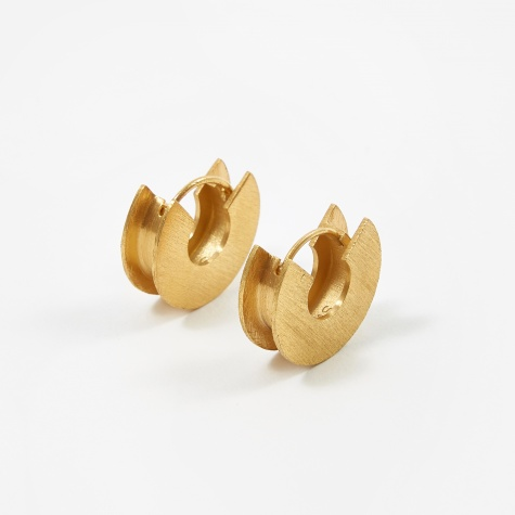 H-Beam Earrings - Brushed Vermeil Gold