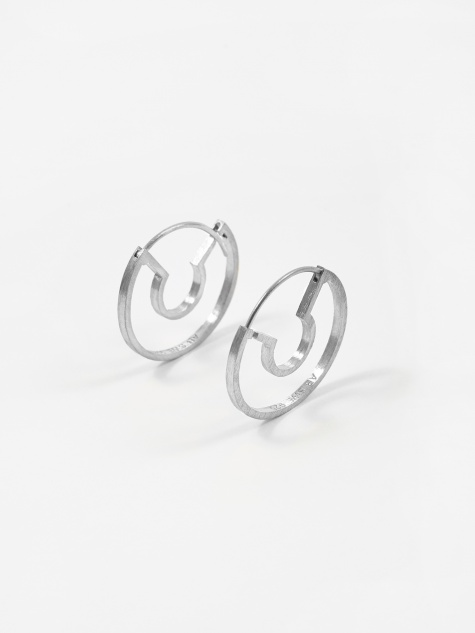 Blind Date Earrings - Brushed Sterling Silver