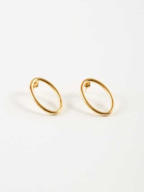 Ellipse Medium Earrings - 18K Polished Vermeil Gold