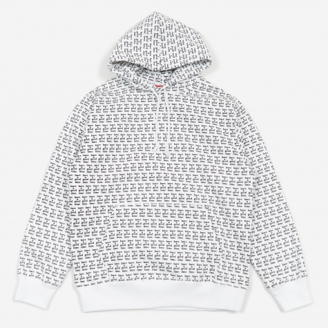 All Over Print Logo Hooded Sweatshirt - White