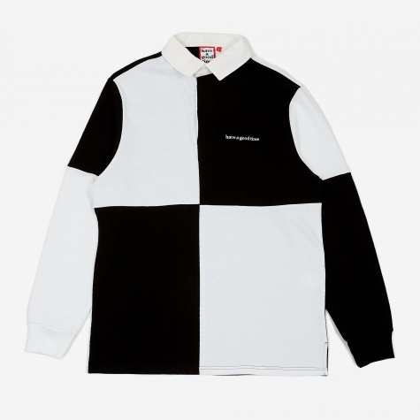 Colour Blocked Rugby Shirt - White/Black