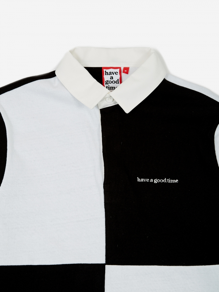 Colour Blocked Rugby Shirt   White/Black by Have A Good Time