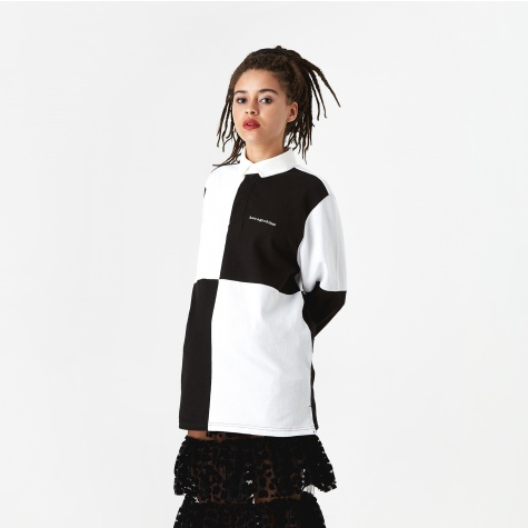 Colour Blocked Rugby Top  - White