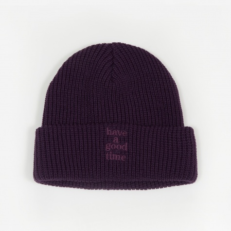 Logo Ragg Wool Beanie Hat - Purple