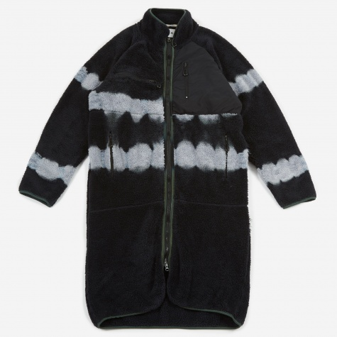 Long Fleece Cardigan - Black Tie Dye