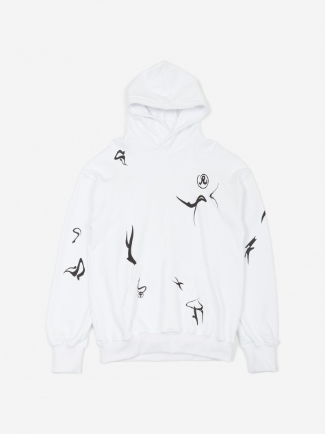 Erikah Glyph Hooded Sweatshirt - White