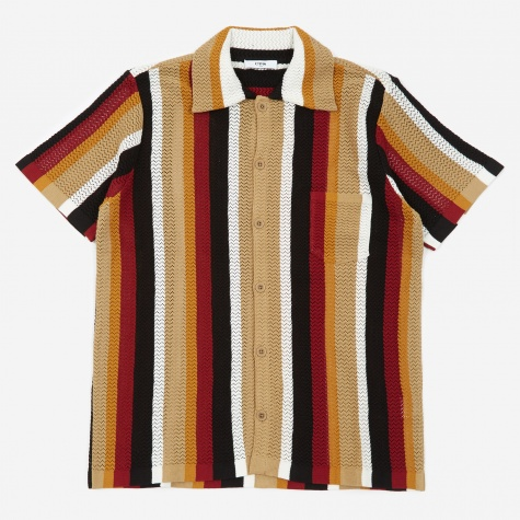 Wes Knitted Short Sleeve Shirt - Burgundy Stripe