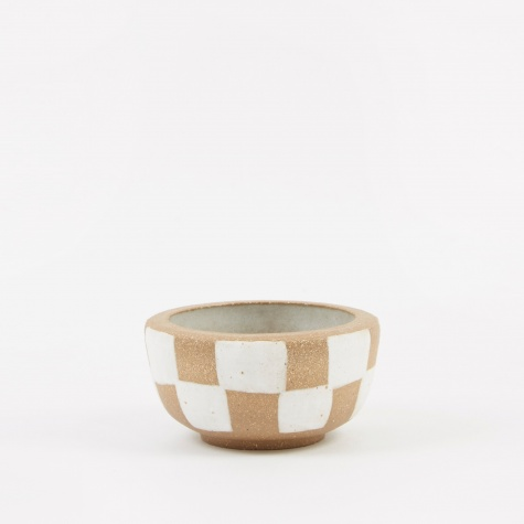 Incense Bowl Small - Light Brown Outside Check