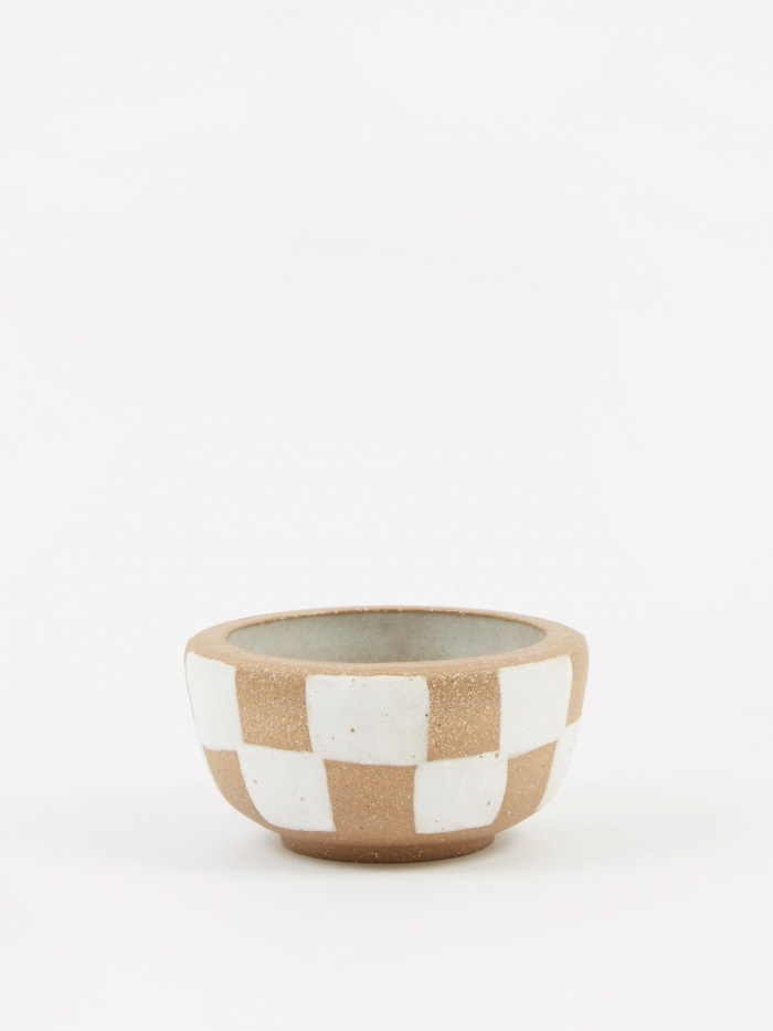 Mellow Incense Bowl Small - Light Brown Outside Check (Image 1)