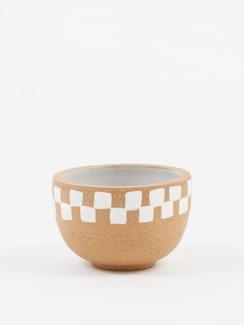 Incense Bowl Medium - Light Brown Half Painted Check