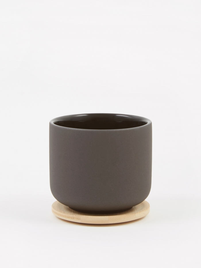 Stelton Theo Cup With Coaster - Black (Image 1)