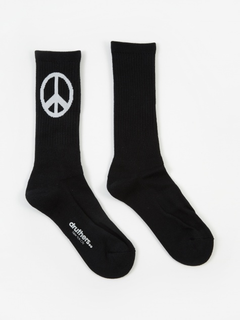 Druthers Peace Crew Socks - Black