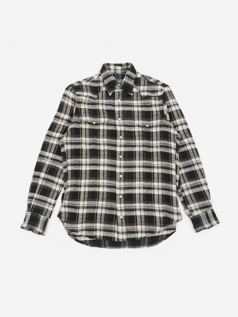 Western Shirt - Black/White Flannel
