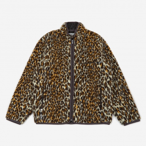 Leopard Boa Fleece Jacket - Black