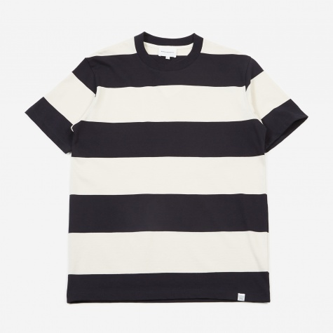 Johannes Border Stripe T-Shirt - Dark Navy