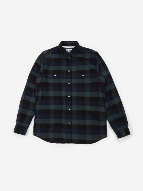Villads Brushed Flannel Check - Dark Navy