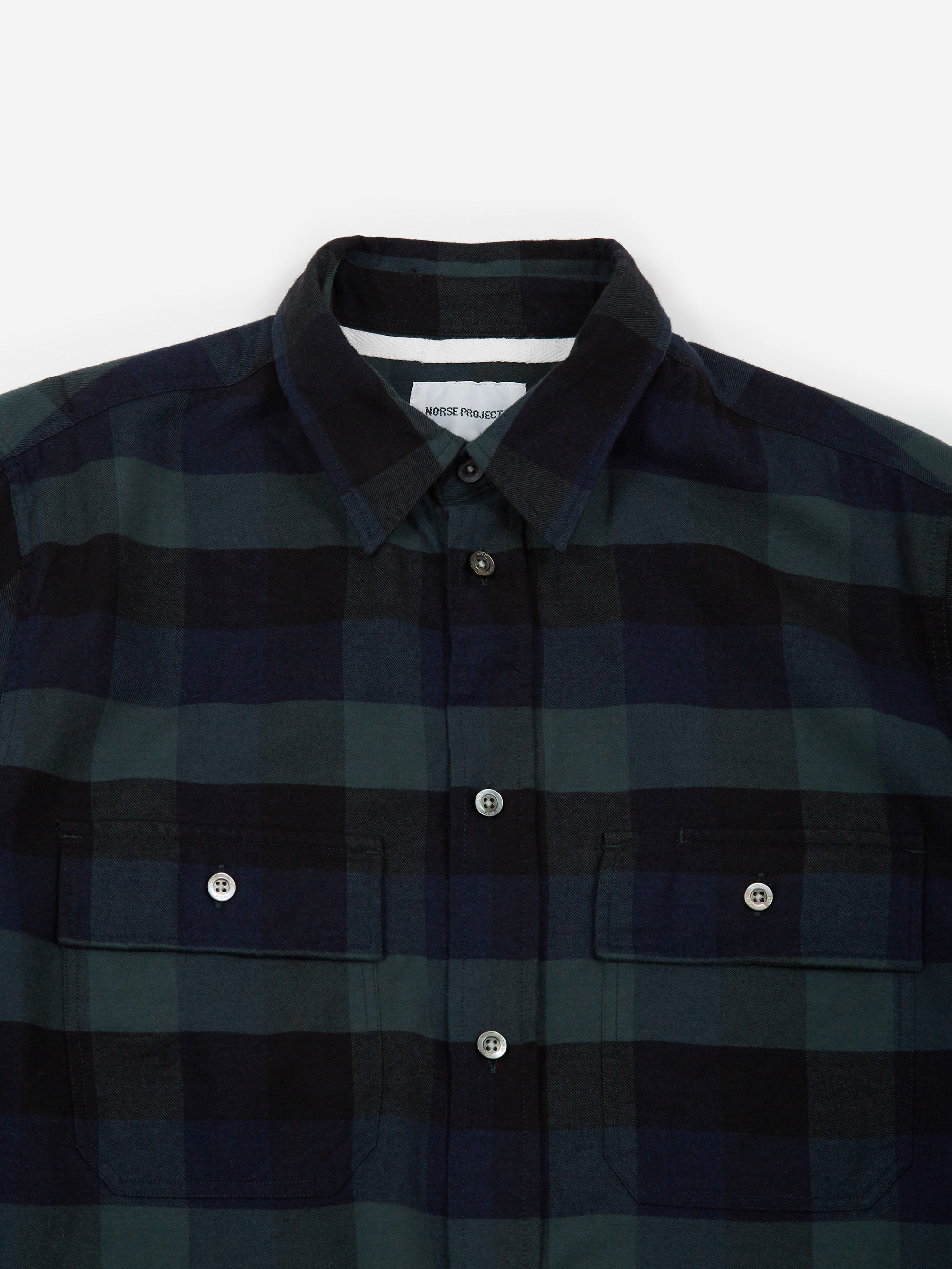 867f703c3 Norse Projects Villads Brushed Flannel Check - Dark Navy