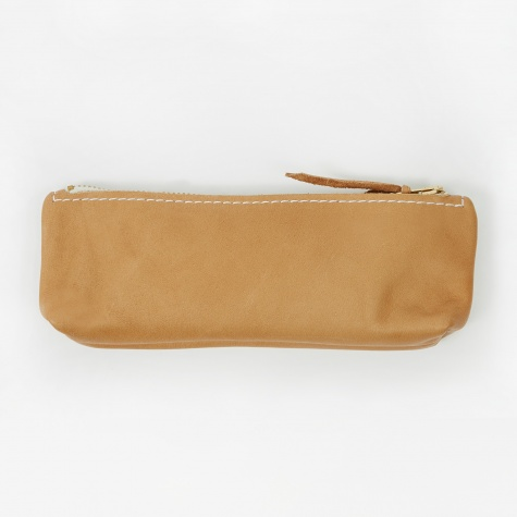 Smooth Leather Pencil Case - Natural