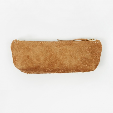 Suede Leather Pencil Case - Dark