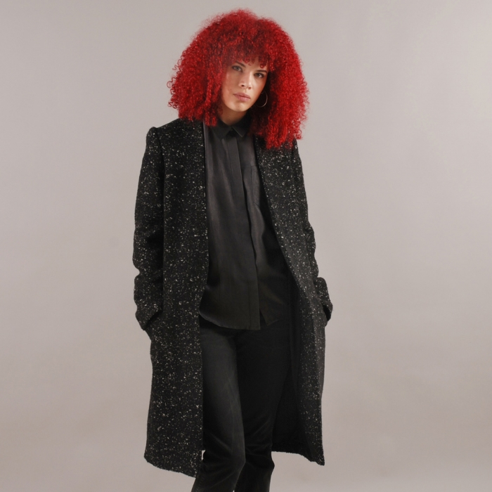 Surface To Air Long Coat - Black Melange (Image 1)