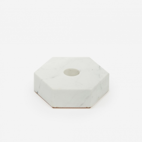 White Stone Candle Holder - Hexagon