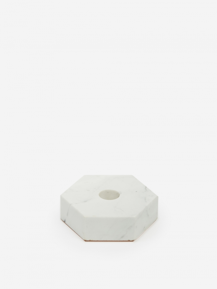 Fort Standard White Stone Candle Holder - Hexagon (Image 1)
