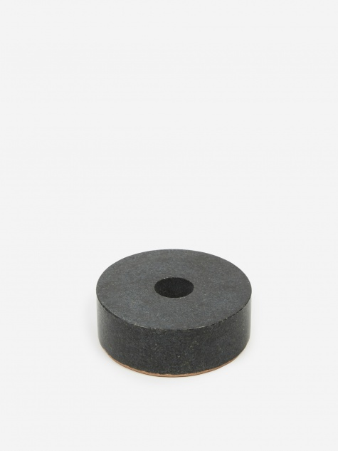 Black Stone Candle Holder - Circle