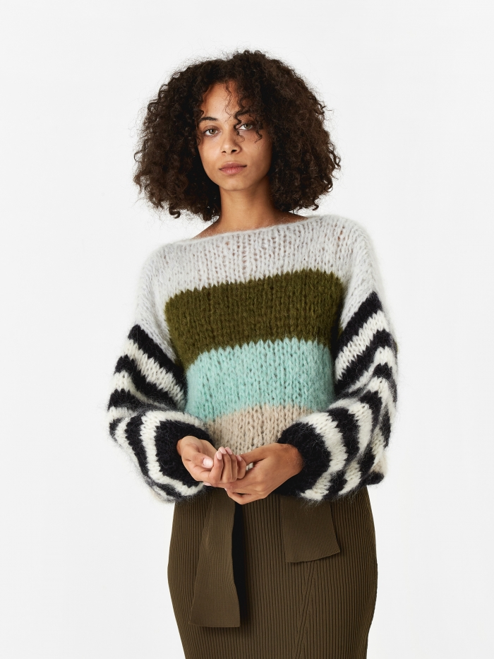 Maiami Mohair Big Sweater - Greenish Stripes (Image 1)