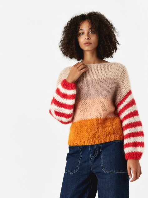 Mohair Big Sweater - Nudish Stripes