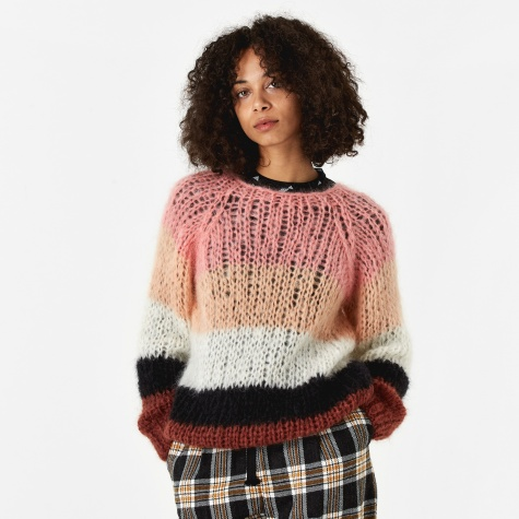 Mohair Striped Sweater - Coral Collar