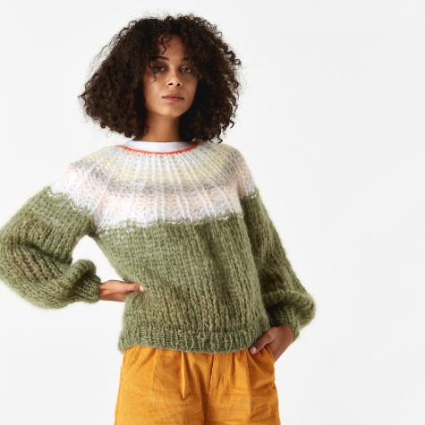 Mohair Pleated Sweater - Olive