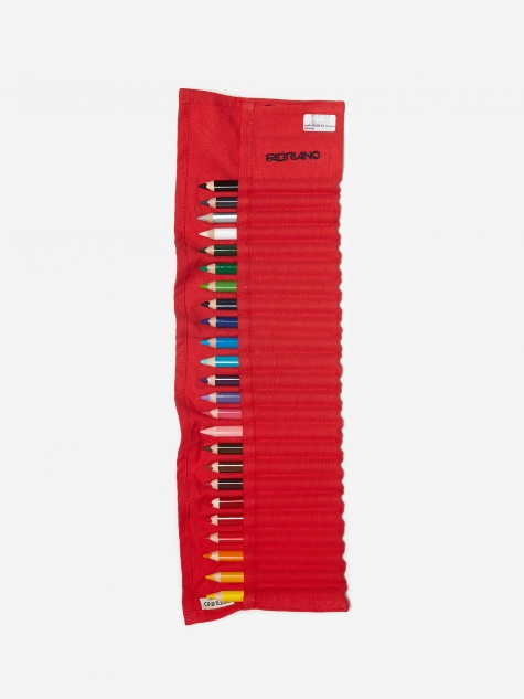 Cartucciera 24 Coloured Pencil Linen Case Set - Red
