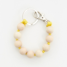 Ina Seifart Dicke Perlen Short Key Holder - Natural/Yellow