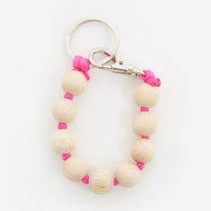 Ina Seifart Dicke Perlen Short Key Holder - Natural/Pink