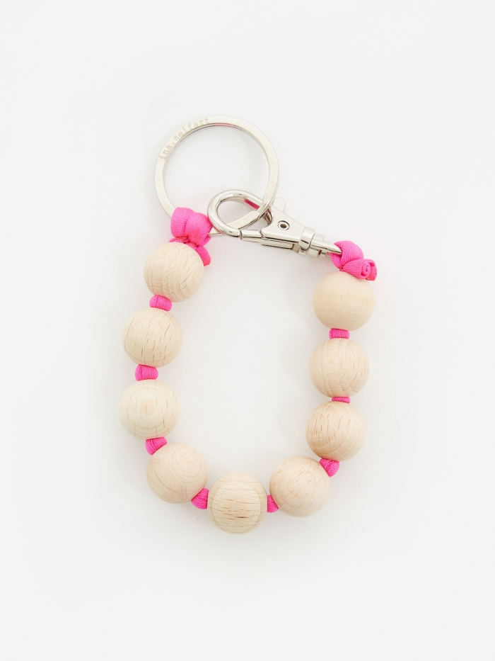 Ina Seifart Dicke Perlen Short Key Holder - Natural/Pink (Image 1)