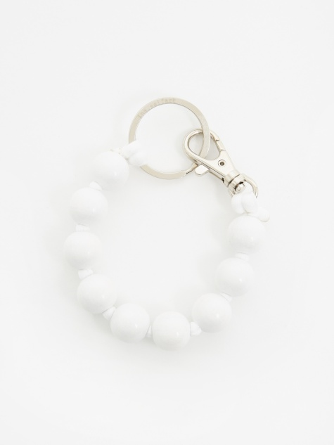 Dicke Perlen Short Key Holder - White/White