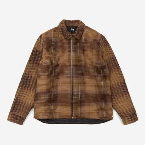 Zip Up Plaid Longsleeve Shirt - Brown