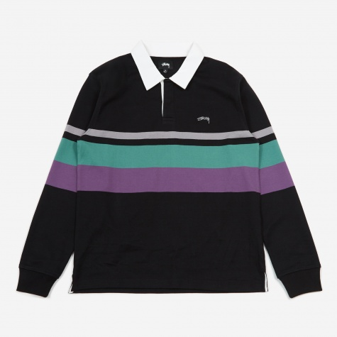 Lucas Stripe Longsleeve Rugby Top - Black
