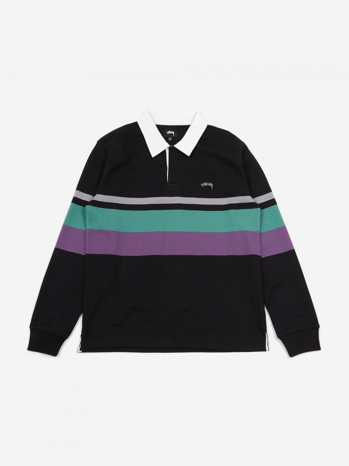 Lucas Stripe Longsleeve Rugby Top   Black by Stussy