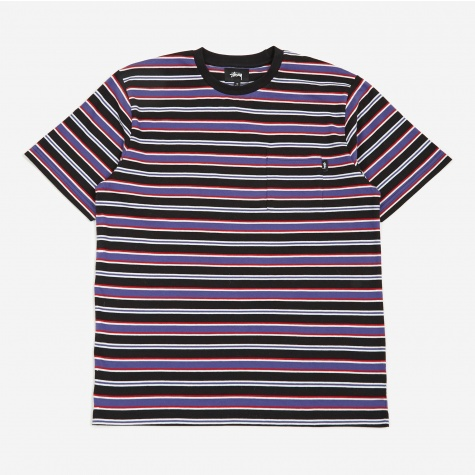 Dennis Stripe Crew T-Shirt - Black