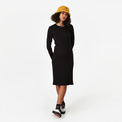 Temple Longsleeve Rib Dress - Black