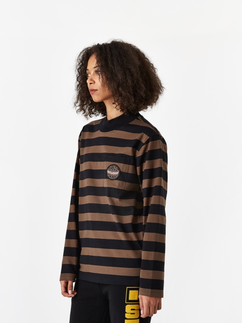 Lucile Stripe Longsleeve Mock Neck - Black