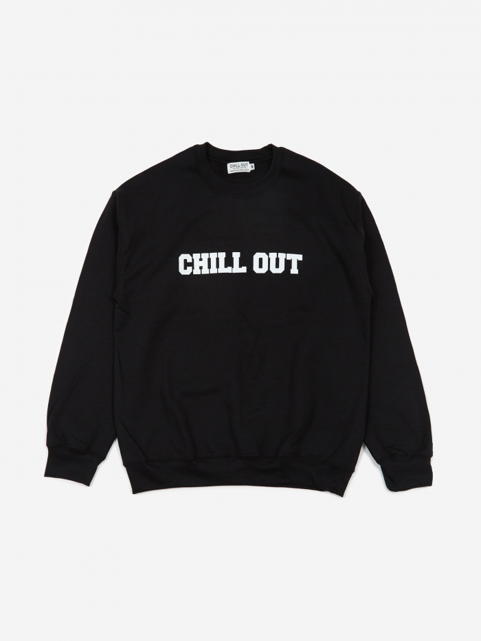 Chill Out Logo Sweatshirt - Black/White Print (Image 1)
