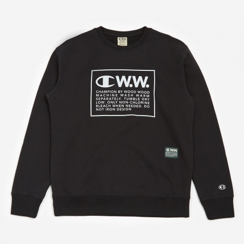 Reverse Weave x Wood Wood Crewneck Sweatshirt - Black