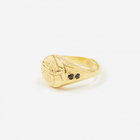 Lunar Signet Ring - 18ct Gold Plated/Sapphire