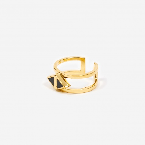 Octa Onyx Double Ring - 18ct Gold Plated