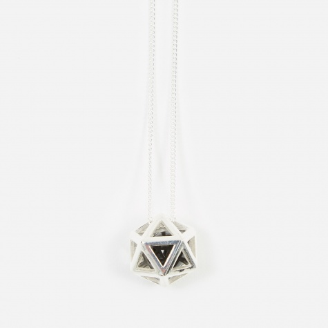 Icosa Large Pendant - 925 Sterling Silver/Black