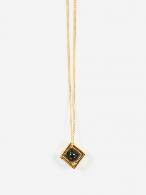 Cube Large Pendant - 18ct Gold Plated/Onyx