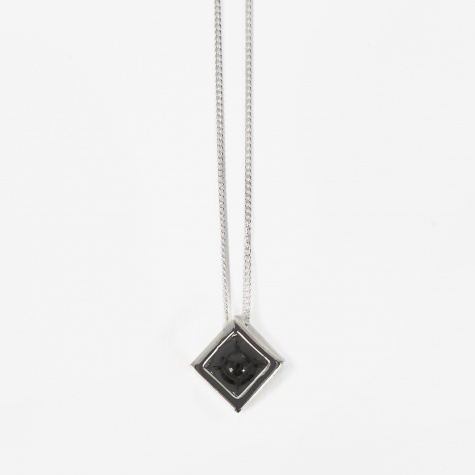 Cube Large Pendant - Sterling Silver/Black